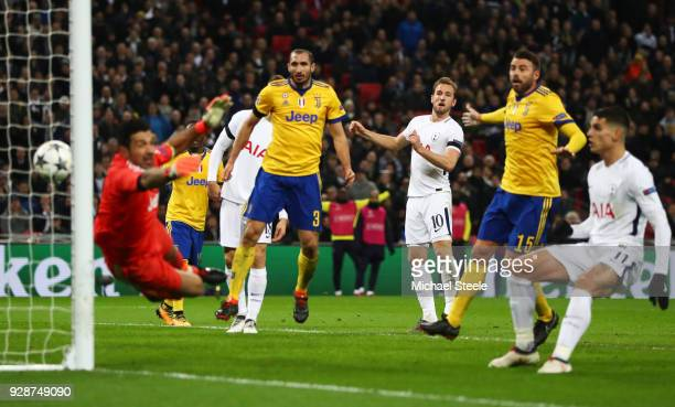Harry Kane of Tottenham Hotspur watches as his header hits the post during the UEFA Champions League Round of 16 Second Leg match between Tottenham...