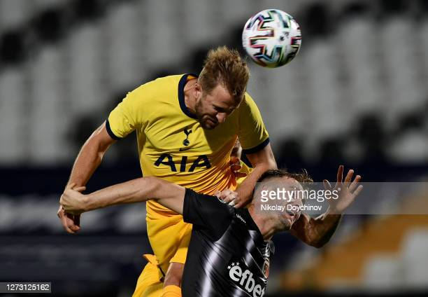Harry Kane of Tottenham Hotspur wins a header during the UEFA Europa League second qualifying round match between Lokomotiv Plovdiv and Tottenham...