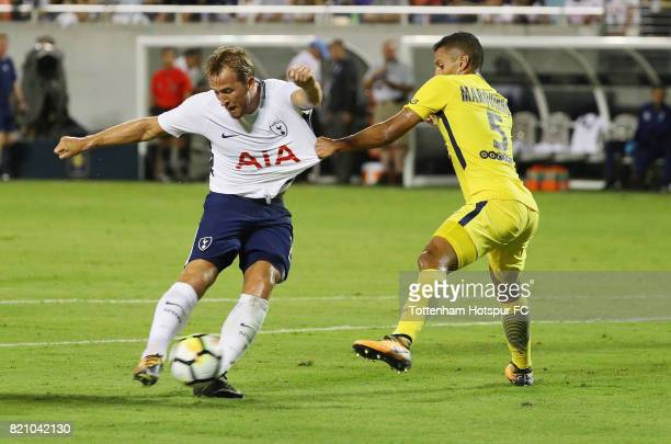Harry Kane of Tottenham Hotspurs battles for the football with Marquinhos of Paris SaintGermain during a International Champions Cup 2017 game at...