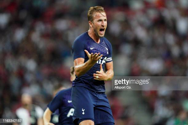 Harry Kane of Tottenham Hotspurs celebrates after he scored their 3rd goal during the International Champions Cup match between Juventus and...