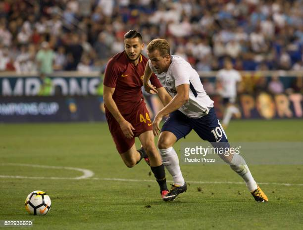 Harry Kane of Tottenham Hotspurs controls ball during International Champions Cup game against AS Roma on Red Bulls Arena Roma won 3 2