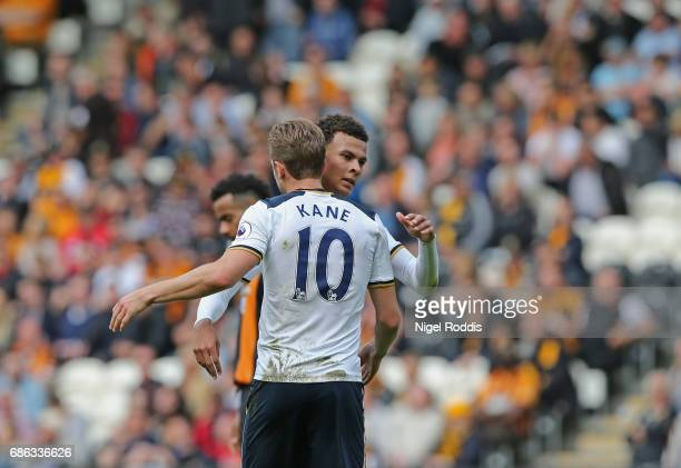 Harry Kane of Tottenham Hotsur and Dele Alli of Tottenham Hotspur embrace during the Premier League match between Hull City and Tottenham Hotspur at...