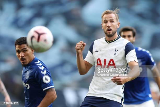 Harry Kane of Tottenham in action during the Premier League match between Tottenham Hotspur and Everton at Tottenham Hotspur Stadium on September 13...