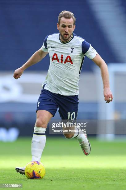 Harry Kane of Tottenham in action during the Premier League match between Tottenham Hotspur and Leeds United at Tottenham Hotspur Stadium on January...