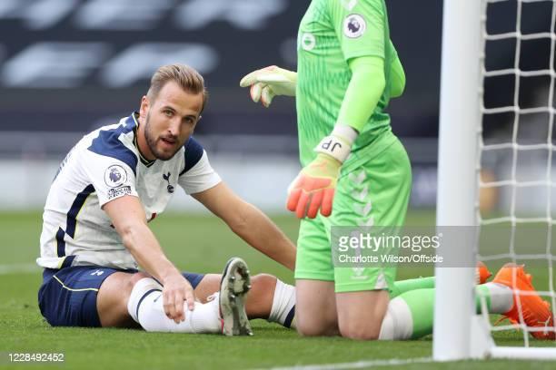 Harry Kane of Tottenham looks dejected during the Premier League match between Tottenham Hotspur and Everton at Tottenham Hotspur Stadium on...
