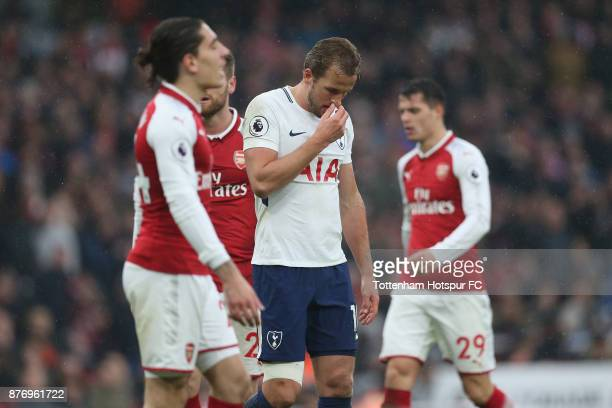Harry Kane of Tottenham looks dejected during the Premier League match between Arsenal and Tottenham Hotspur at Emirates Stadium on November 18 2017...