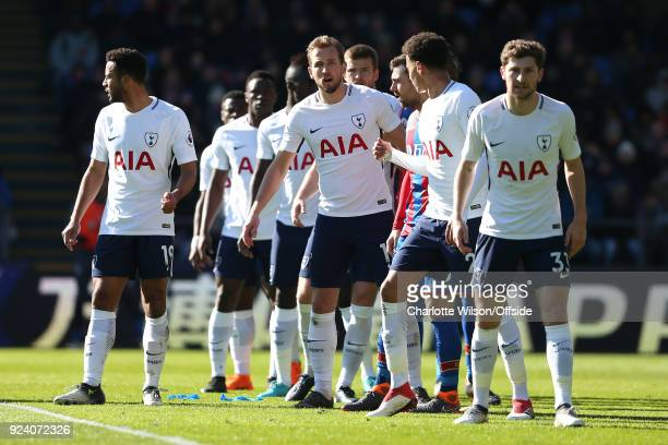 Harry Kane of Tottenham looks out from the wall for a free kick during the Premier League match between Crystal Palace and Tottenham Hotspur at...