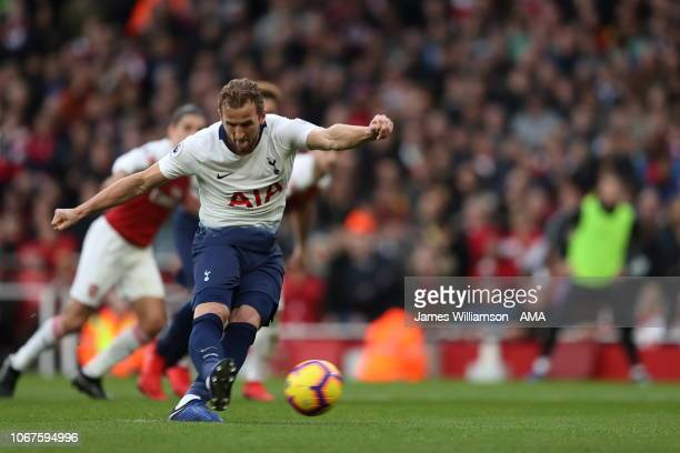 Harry Kane of Tottenham scores a goal to make it 21 during the Premier League match between Arsenal FC and Tottenham Hotspur at Emirates Stadium on...