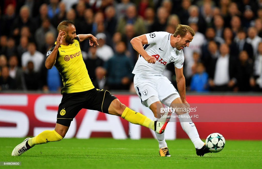 Harry Kane of Tottenham scores the 2nd Tottenham goal during the UEFA Champions League group H match between Tottenham Hotspur and Borussia Dortmund at Wembley Stadium on September 13, 2017 in London, United Kingdom.