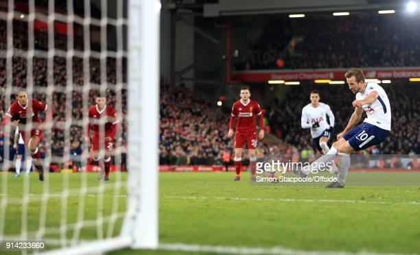 Harry Kane of Tottenham scores their 2nd and equalising goal from the penalty spot during the Premier League match between Liverpool and Tottenham...