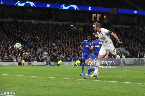 Harry Kane of Tottenham scores their 4th goal during the UEFA Champions League group B match between Tottenham Hotspur and Olympiacos FC at Tottenham...