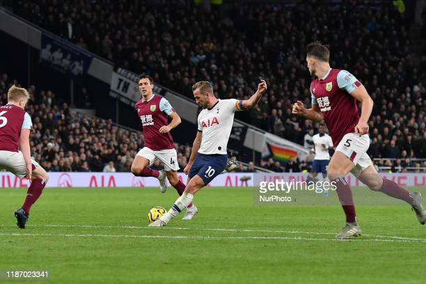 Harry Kane of Tottenham shoots at goal during the Premier League match between Tottenham Hotspur and Burnley at White Hart Lane London on Saturday...