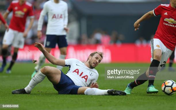 Harry Kane of Tottenham stretches but fails to reach the ball during the FA Cup semi final between Manchester United and Tottenham Hotspur at Wembley...