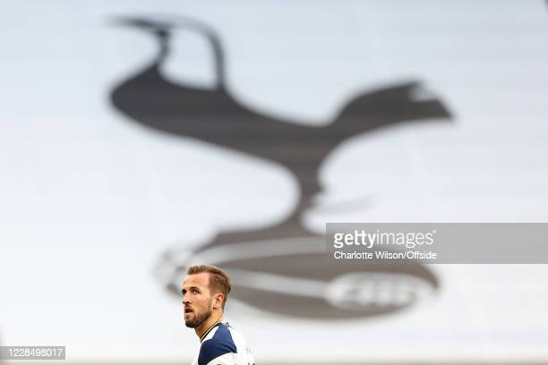 Harry Kane of Tottenham walks past a large banner depicting the Tottenham crest during the Premier League match between Tottenham Hotspur and Everton...