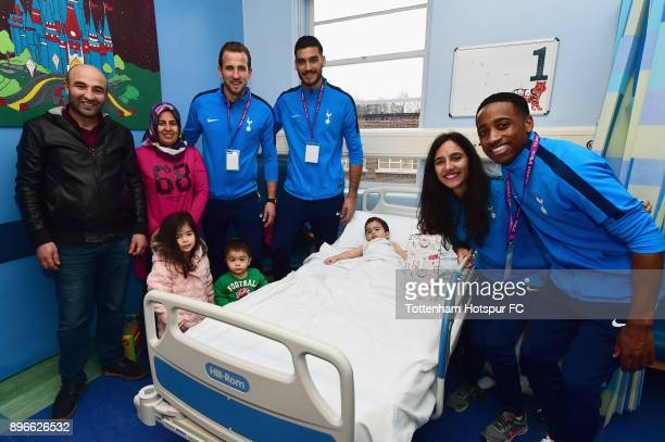 Harry Kane Paulo Gazzaniga Maya Vio and Kyle WalkerPeters meet a young patient during a Tottenham Hotspur player visit at Whipps Cross Hospital on...