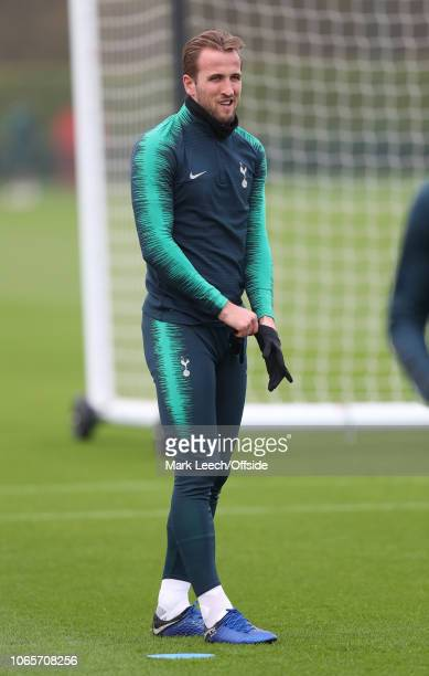 Harry Kane putting on his gloves during the Tottenham Hotspur Training Session at the Tottenham Training Ground on November 27 2018 in London England