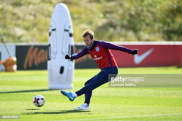 Harry Kane shoots during a training session as part of England media access at St George's Park on June 6 2017 in BurtonuponTrent England