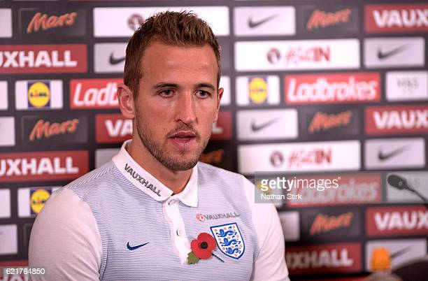 Harry Kane speaks during an England press conference at St Georges Park on November 8 2016 in BurtonuponTrent England England are due to face...