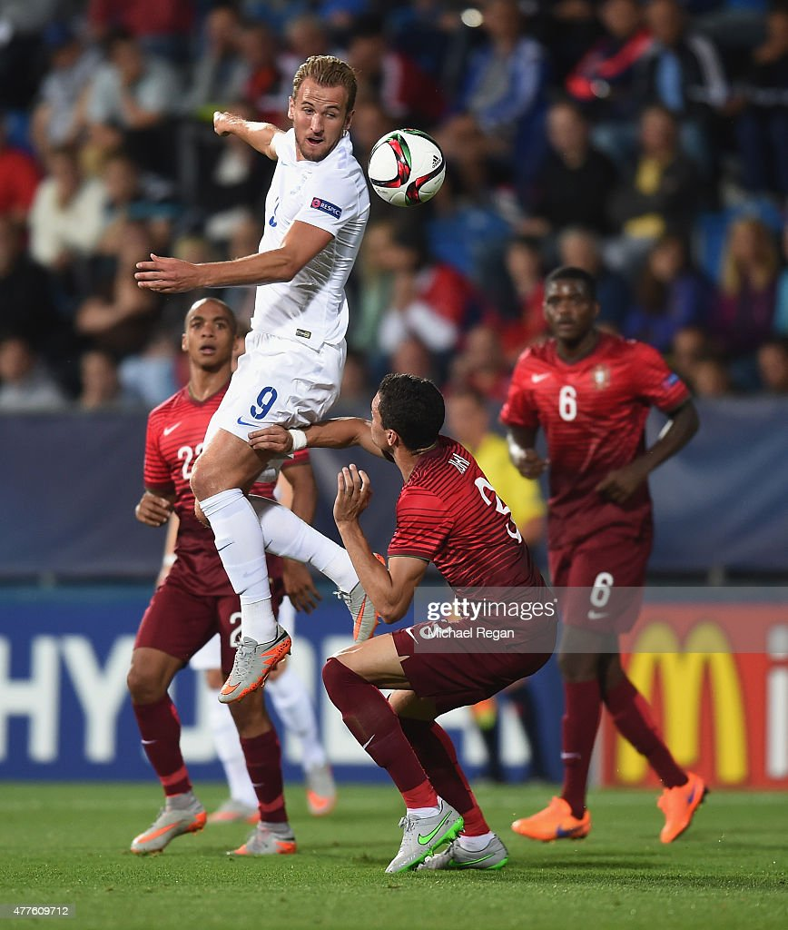 Harry Kanei of England in action with Tiago Ilori of Portugal during the UEFA Under21 European Championship 2015 Group B match between England and Portugal at Mestsky Fotbalovy Stadium on June 18, 2015 in Uherske Hradiste, Czech Republic.