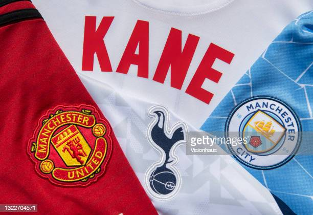 Harry Kane's name on the back of a shirt with the Tottenham Hotspur, Manchester United and Manchester City badges amid speculation of Kane leaving...