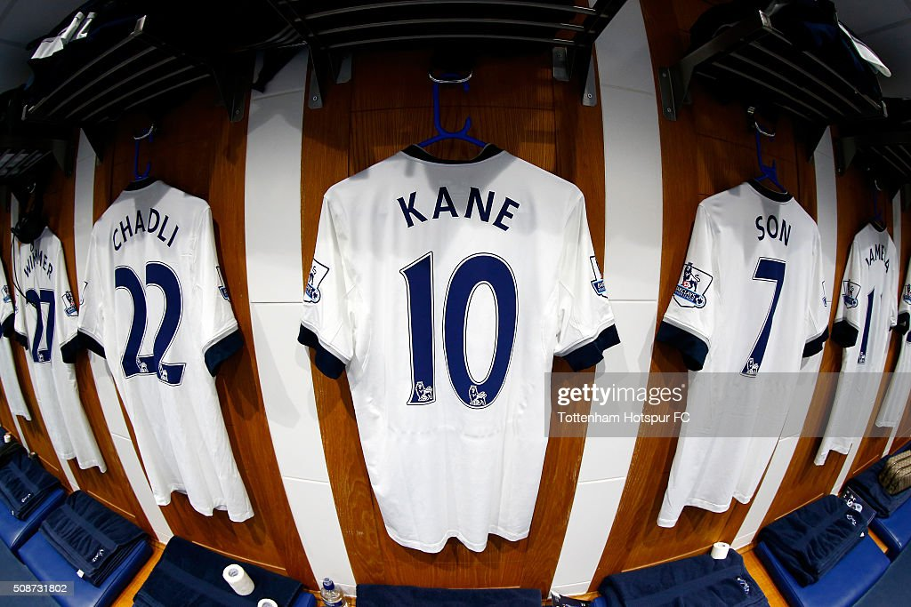 Harry Kane's shirt hangs alongside those of team mates in the Tottenham Hotspur changing room prior to the Barclays Premier League match between Tottenham Hotspur and Watford at White Hart Lane on February 6, 2016 in London, England.