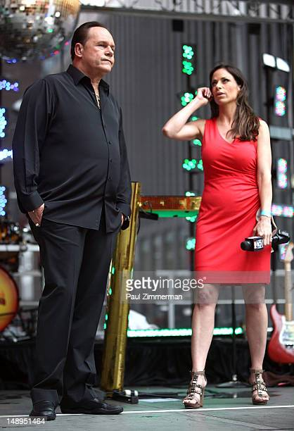 Harry KC Wayne of Casey of KC and the Sunshine Band and tv personality Jill Nicolini perform during FOX Friends All American Concert Series at FOX...