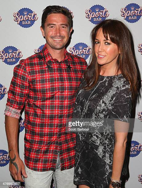 Harry Kewell and his wife Sheree Murphy arrive at the Crown Sports Bar Launch at Crown Casino on March 6 2014 in Melbourne Australia