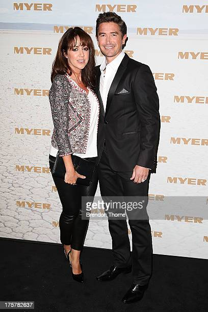 Harry Kewell and Sheree Murphy arrive at the Myer Spring/Summer 2014 Collections Launch at Fox Studios on August 8 2013 in Sydney Australia