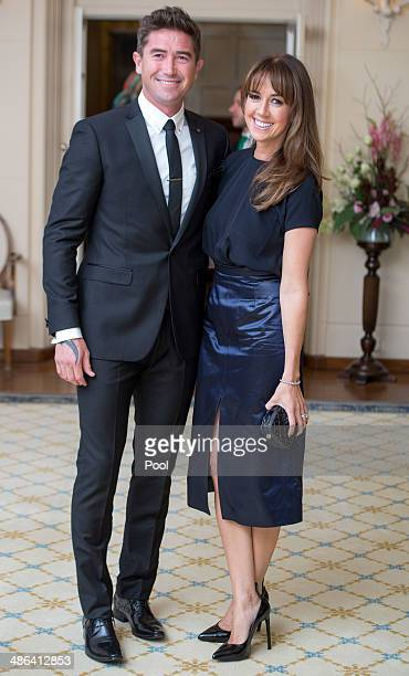 Harry Kewell and Sheree Murphy attend a reception hosted by the Governor General Peter Cosgrove and Her excellency Lady Cosgrove at Government House...