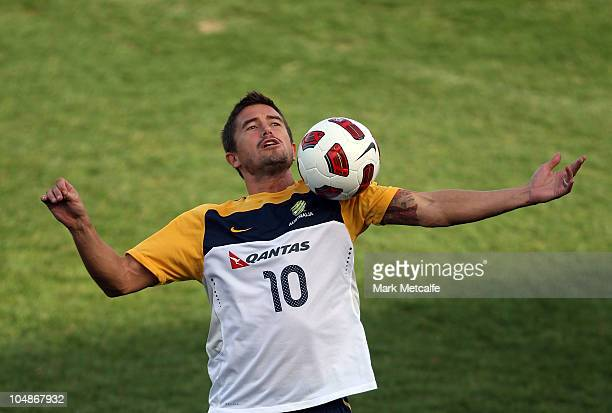 Harry Kewell controls the ball during an Australian Socceroos training session at Leichhardt Oval on October 6 2010 in Sydney Australia