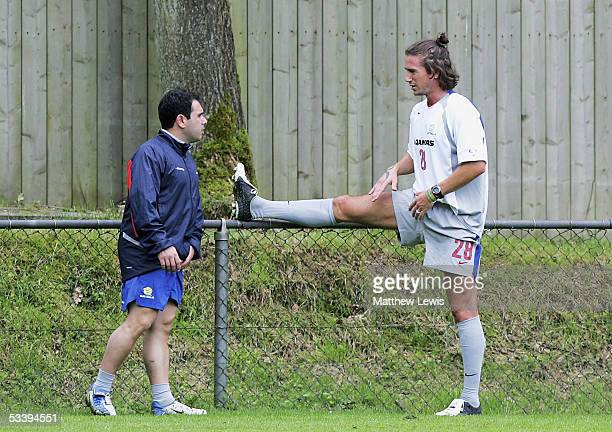 Harry Kewell does some fitness training with strength and conditioning coach Anthony Crea during the Socceroos Training Camp ahead of the World Cup...