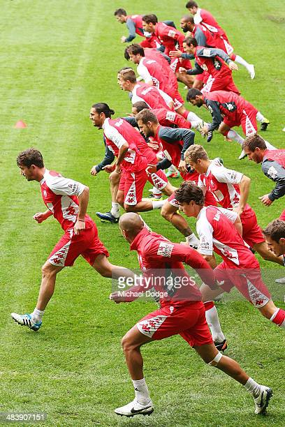 Harry Kewell leads a short sprint during a Melbourne Heart ALeague training session at AAMI Park on April 11 2014 in Melbourne Australia