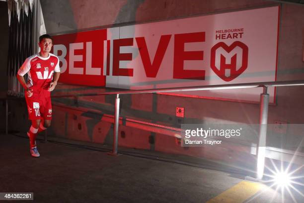 Harry Kewell leads his team out for the warm up in his last professional football match during the round 27 ALeague match between Melbourne Heart and...