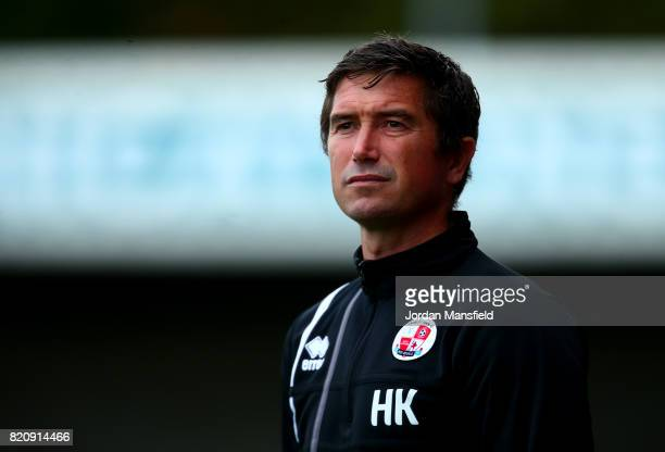 Harry Kewell manager of Crawley Town looks on during the Pre Season Friendly match between Crawley Town and Brighton Hove Albion at Broadfield...