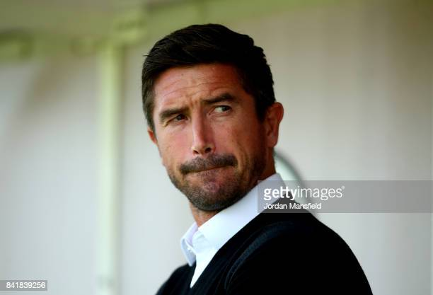 Harry Kewell manager of Crawley Town looks on prior to the Sky Bet League Two match between Crawley Town and Yeovil Town at Checkatradecom Stadium on...