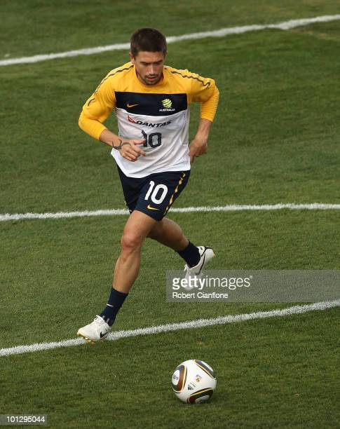Harry Kewell of Australia controls the ball during an Australian Socceroos training session at St Stithians College on May 31 2010 in Sandton South...