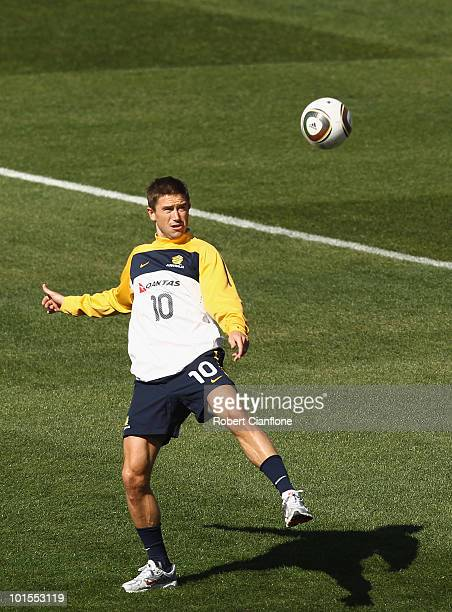 Harry Kewell of Australia controls the ball during an Australian Socceroos training session at St Stithians College on June 2, 2010 in Sandton, South...