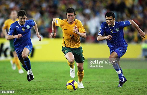 Harry Kewell of Australia controls the ball during the 2010 FIFA World Cup qualifying match between the Australian Socceroos and Uzbekistan at ANZ...