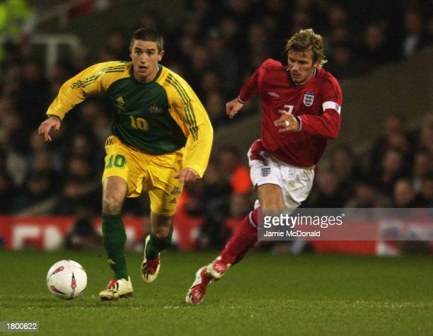 Harry Kewell of Australia goes past David Beckham of England during the International Friendly match between England and Australia held on February...