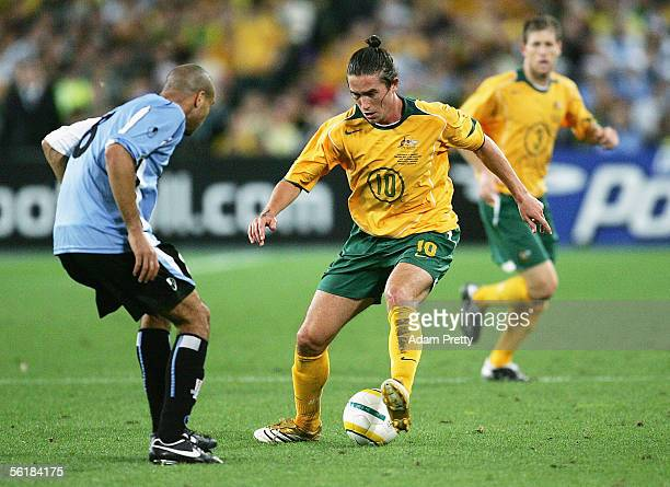 Harry Kewell of Australia in action during the second leg of the 2006 FIFA World Cup qualifying match between Australia and Uruguay at Telstra...