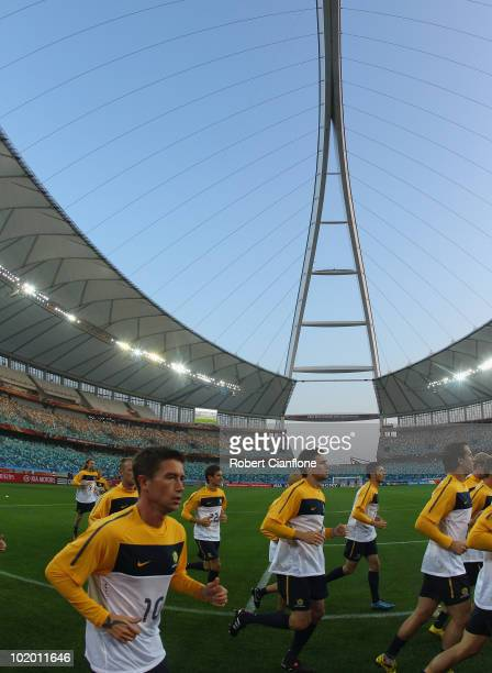 Harry Kewell of Australia is runs laps during a Socceroos training session at the Moses Mabhida Stadium on June 12, 2010 in Durban, South Africa.