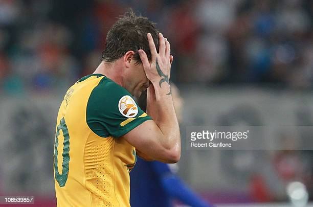 Harry Kewell of Australia reacts after missing a shot on goal during the AFC Asian Cup Final match between the Australian Socceroos and Japan at...