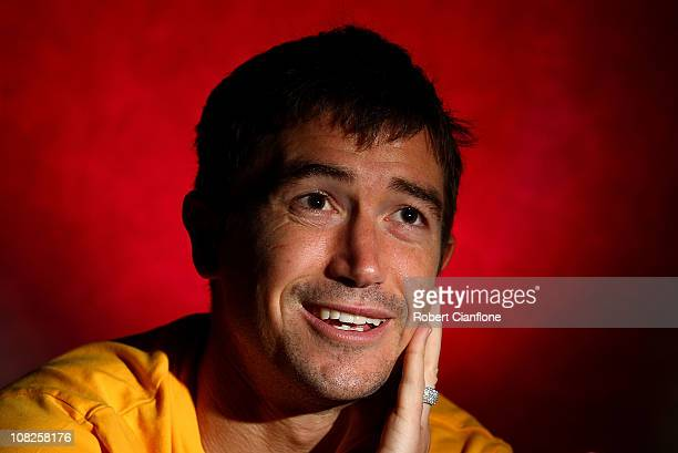 Harry Kewell of Australia talks to the media during an Australian Socceroos media session at the Marriot Hotel on January 23 2011 in Doha Qatar