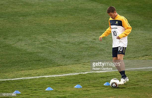 Harry Kewell of Australia trains away from the main group during an Australian Socceroos training session at St Stithians College on May 30 2010 in...