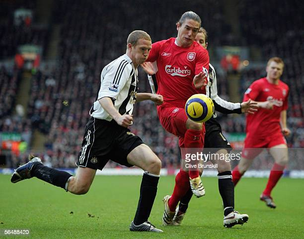 Harry Kewell of Liverpool battles for the ball with Peter Ramage of Newcastle United during the Barclays Premiership match between Liverpool and...