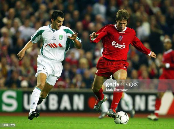Harry Kewell of Liverpool battles with Branko Llic of Olimpija during the UEFA Cup first round second leg match between Liverpool and Olimpija...