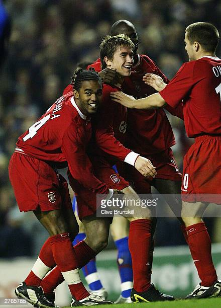 Harry Kewell of Liverpool celebrates after scoring the first goal during the UEFA Cup second round second leg match between liverpool and Steaua...