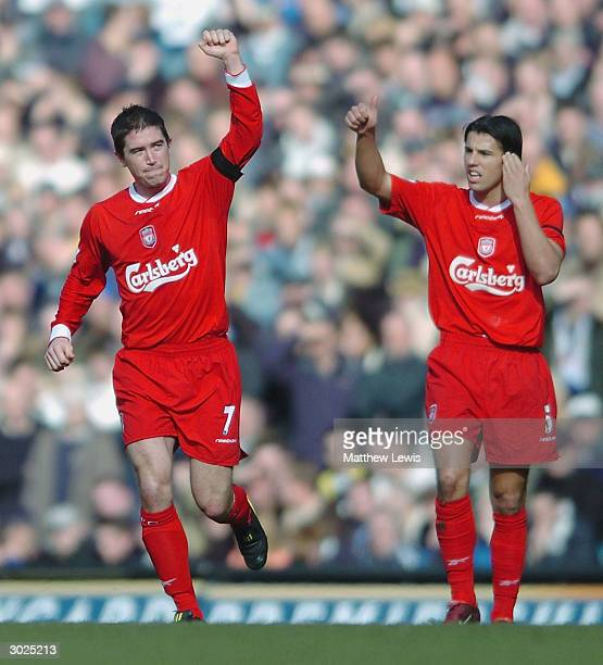 Harry Kewell of Liverpool celebrates after scoring the first goal the FA Barclaycard Premiership match between Leeds United and Liverpool at Elland...