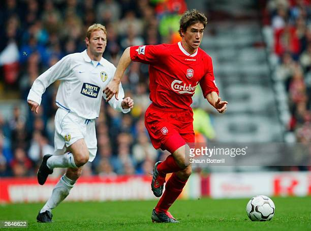 Harry Kewell of Liverpool gets past David Batty of Leeds during the FA Barclaycard Premiership match between Liverpool and Leeds at Anfield on...
