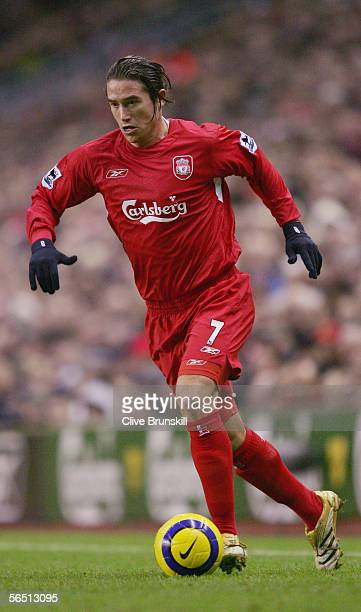 Harry Kewell of Liverpool in action during the Barclays Premiership match between Liverpool and West Bromwich Albion at Anfield on December 31 2005...